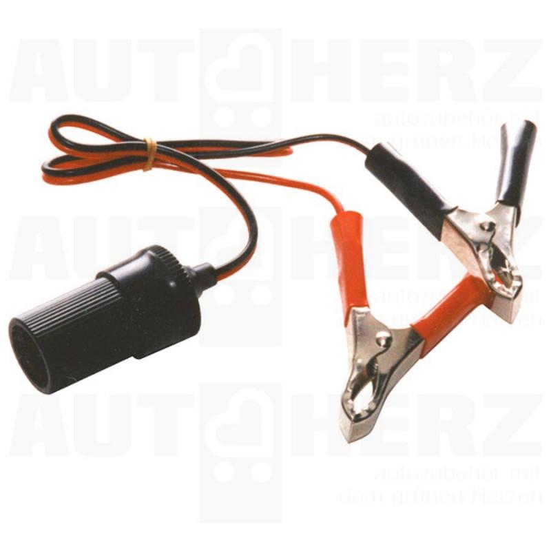 Zásuvka zapalovače 12V - se svorkami na autobaterii