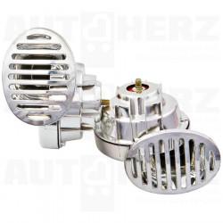 Fanfára / klakson 12V 2ks - s relátkem chromové