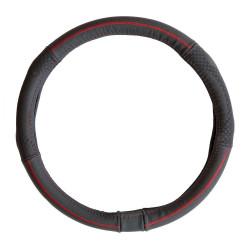 Potah volantu z pravé kůže - černý s červeným obšitím
