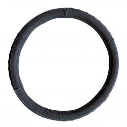 Potah volantu z pravé kůže - černý s modrým obšitím