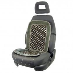Potah na sedadlo kuličkový masážní - šedý semiš / dřevo s výstuhou