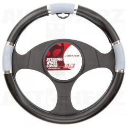 Potah volantu 37-39cm - černý / šedý