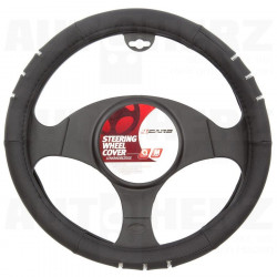 Potah volantu 37-39cm - černý / chromový