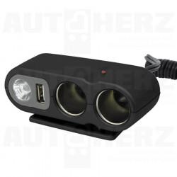 Rozdvojka do zapalovače 12V - s USB výstupem / kabelem / LED osvětlením