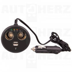 Rozdvojka do zapalovače 12V - s USB a testrem baterie