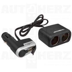 Rozdvojka do zapalovače 12V / 24V - s kabelem a USB
